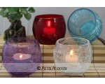 CRACKLE GLASS VOTIVE HOLDERS APPROX 75CM HIGH PRETTY CRACKLE GLASS VOTIVETEALIGHT CANDLE HOLDERS IN A TRAY OF 8  IN 4 COLOURS CLEAR PURPLE RED BLUE Please Click the image for more information.