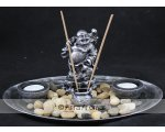 MONEY BAGS BUDDHA W/CANDLE/INCENSE HOLDER L30CM X W20CM X H14CM FAT BUDDHA WITH MONEY BAG 2 TEA LIGHTCANDLE HOLDER AND INCENSE HOLDER ON AN OVAL PLATE Please Click the image for more information.