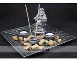 FAT BUDDHA W/TEA LIGHT AND INCENSE HOLDER L25CM X W25CM X H15CM FAT BUDDHA MONEY BAG PLUS 2 TEA LIGHTCANDLE HOLDERS AND INCENSE HOLDER ON A SQUARE TIMBER DECORATED PLATE Please Click the image for more information.