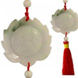 Jade Lotus Exquisite high quality jade hand carved Lotus with long red tasselThis can be hung anywhere in the home or office A g. Please Click the image for more information.