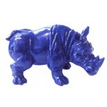 Blue Rhinocerus  A single Blue Rhinocerus statueUsed in Feng Shui to represent warding off dangerOften used in pairs to ward off malicious intentMade. Please Click the image for more information.