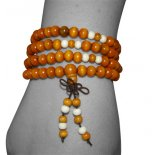 Light Tan Wooden Mala necklace Light Tan Wooden Mala 8mm necklace with white wooden beade spacers on stretch cord for comfortable use on wrist and neck. Please Click the image for more information.