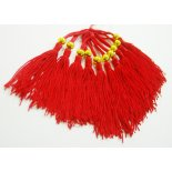 red tassels with round bead