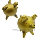 3 Legged Pig Statue, Chancitos  with crystal eyes