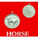 Horse round Double Sided Character/Chinese Calligraphy Pendants Horse round Chinese year of Animal with Calligraphy pendent on black cord Please Click the image for more information.