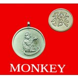 Monkey round Double Sided Character/Chinese Calligraphy Pendants