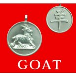 Goat round Double Sided Character/Chinese Calligraphy Matt Pewter Astrology Pend