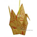 Paper Peace Crane Origami paper Peace Crane made from beautifully patterned paper with clear bead and on a golden cordC. Please Click the image for more information.