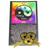 3 Gold I Ching Coins Tied with Gold Ribbon Set of three gold I Ching coins tied with gold cord representing wealth Place under your front door mat to symbolise wealth entering the home carry in your purse or place in the safe at work. Please Click the image for more information.