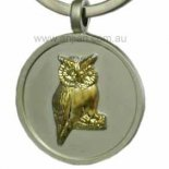 Gold Owl on silver keyring