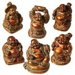 Box of 6 Standing Laughing Buddha Statues Antique 34mm
