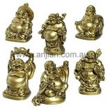 Box of 6 Standing Laughing Buddha Statues Gold 57mm