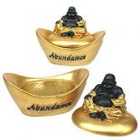 Laughing Buddha sitting on Ingot &quot;Abundance&quot; Treasure Box Black &amp; Gold 90mm