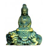 Aqua/Blue Quan Yin Sitting on Lion Statue 30mm