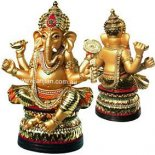 Ganesha Statue &quot;Success &amp; Knowledge&quot; with four arms, sitting on podium, Gold 180