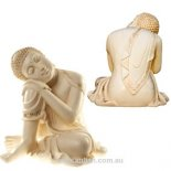 Buddha Statue - Leaning on one knee sleeping - 'Peace', Ivory & Gold 500mm Buddha Statue statue  Leaning on one knee sleeping  Peace  Please Click the image for more information.