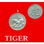 Tiger round Double Sided Character/Chinese Calligraphy  Pendants Tiger round Chinese year of Animal with Calligraphy pendent on black cord Please Click the image for more information.