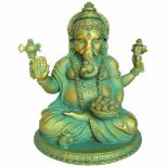 Ganesha sitting in lotus position blue/gold 210mm Ganesha statue blue sitting in Lotus Please Click the image for more information.