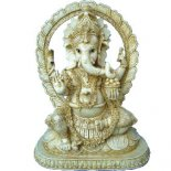 Ganesha sitting w lotus halo marble/ivory 265mm Ganehsa statue sitting on Lotus with Halo Please Click the image for more information.