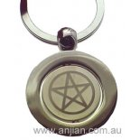 Pentagram Symbol, High Quality Silver Keyring