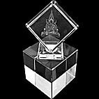 Thai Buddha Laser  picture in Square  Crystal Prism on Stand 65mm
