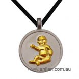 Gold baby on silver pendent 