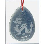 Glass Dragon   pendent on red cord in tiny pouch Please Click the image for more information.