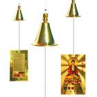 Shakyamuni  Buddha Bell set of four Shakyamuni Buddha Bells four in one pack2 packs for price of oneThis is a breeze bell the Shakyamuni card catches the breeze and the bell has a lovely tinkling sound Please Click the image for more information.