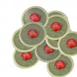 tiny I Ching coins with red stone