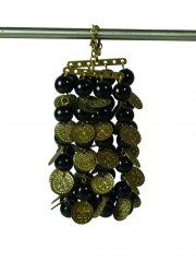 Bead & Coin Bracelet - black/brass  Please Click the image for more information.