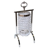 Small candle holder with circular ring of hanging crystals Small candle holder with circular ring of hanging crystals on a metal stand Please Click the image for more information.