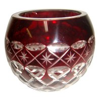 Large red votive holder with diamond cut design Large red votive holder with diamond cut design in two tone glass Please Click the image for more information.