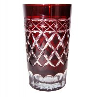 Red (set of 6) water glasses with diamond cut design Red set of 6 water glasses with diamond cut design in two tone glass Please Click the image for more information.
