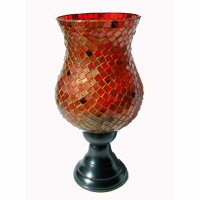 Red Bulb shape c/hdr, stand Red  Gold bulb shape mosaic candle holder with bronze stand  Please Click the image for more information.