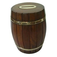 Barrel shape money box Barrel shape money box with brass rings Please Click the image for more information.