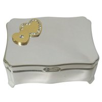 Jewellerybox with gold colour double hearts Silver plated zinc alloy rect with feet jewellerybox with gold colour double hearts  clear austria crystals Please Click the image for more information.