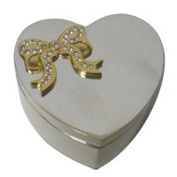 Heart shaped jewellery box Silver plated zinc alloy heart shaped jewellery box with gold colour ribbons  clear austria crystals Please Click the image for more information.
