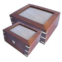 Box with glass top lid Box with glass top  The boxes are made of natural timbers and fitted with brass corners Please Click the image for more information.