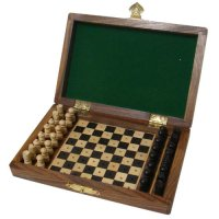 "Rect travelling chess set 4""x6"" with lid Rect travelling chess set 4 inx6 in with lid  Each chess piece is beautifully hand caved  Please Click the image for more information."