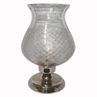 Clear glass hurricane candle holder Clear glass hurricane candle holder diamond cut glass with nickle stand  Please Click the image for more information.
