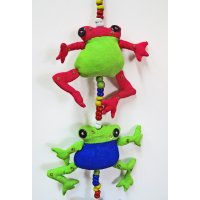 Frog Mobile Hand made and fair trade cotton hanging mobile Bright cheerful and fun Please Click the image for more information.