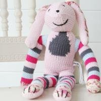 Rosie the Rabbit  100 cotton hand knitted Rosie Rabbit with contrasting floral fabric hands and feet Add the  touch of natural cotton  to you girls roomComes with a matching knitted drawstring bag and rhyme. Please Click the image for more information.