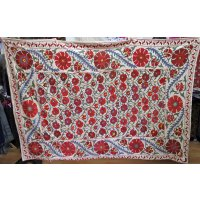 Large Floral Silk  Suzani This suzani has a traditional design with a border of rich dense embroidered roundels in deep rose red . Please Click the image for more information.