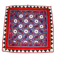 Embroidered panel from Gujarat Colourful ceremonial embroidered panel from Gujurat India Decorated with flowers and mirrors Hand embroidered with silk and cotton thread on a cotton ground fabric ma. Please Click the image for more information.