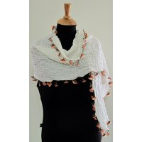 "Turkish 'Oya"" needle lace scarf A contemporary twist on a Turksih traditional head scarf   A fine silk and wool scarf with hand sitiched Oya needle lace embellishment from Turkey Soft and feminine for the summer  A. Please Click the image for more information."