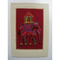 Embroidered card depicting elephant These beautiful cards are hand stitched by women from West Bengal in IndiaNot only can they be used as cards but they are also beautiful framed as textile art pieces  A c. Please Click the image for more information.