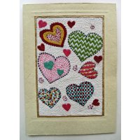 Embroidered card: Lovehearts These beautiful cards are hand stitched by women from West Bengal in IndiaNot only can they be used as cards but they are also beautiful framed as textile art pieces  A c. Please Click the image for more information.