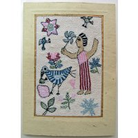 Embroidered card: Pin Wheel Girl  These beautiful cards are hand stitched by women from West Bengal in IndiaNot only can they be used as cards but they are also beautiful framed as textile art pieces  A c. Please Click the image for more information.