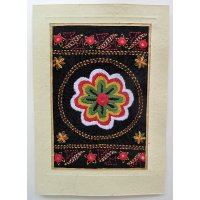 Embroidered card: Flowers These beautiful cards are hand stitched by women from West Bengal in IndiaNot only can they be used as cards but they are also beautiful framed as textile art pieces  A c. Please Click the image for more information.