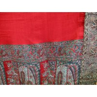 "19th century ""paisley"" shawl This shawl is in the style of a Kashmir shawl  It has woven borders with a paisley design and a rich red centre . Please Click the image for more information."